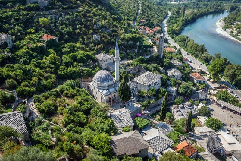 Pocitelj in Bosnia. Hajji Alija Mosque in Pocitelj village in Bosnia and Herzegovina royalty free stock photo