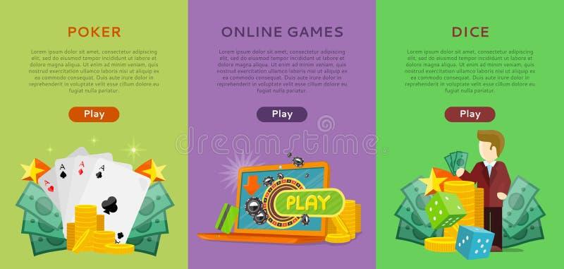 Pocker, jogos onlines, bandeiras do casino dos dados ajustadas ilustração royalty free
