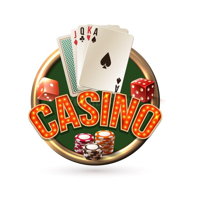 Pocker kasinoemblem royaltyfri illustrationer