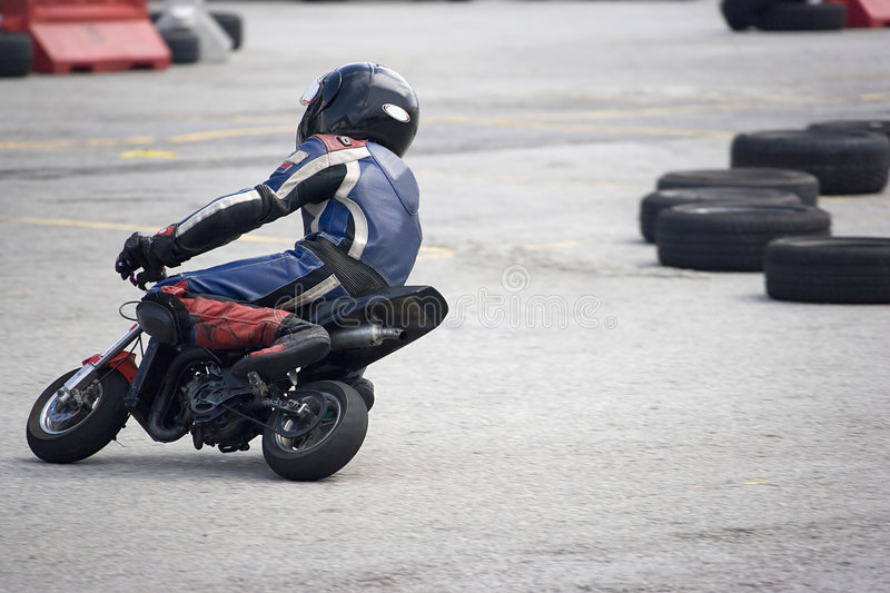 Pocket Bike Race. Pocket bike racing participant in action stock photography