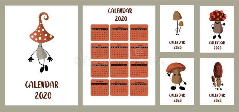 Pocket calendar 2020. Children`s style. Forest mushrooms. Autumn harvest. White background. Different covers. Week starts from stock illustration
