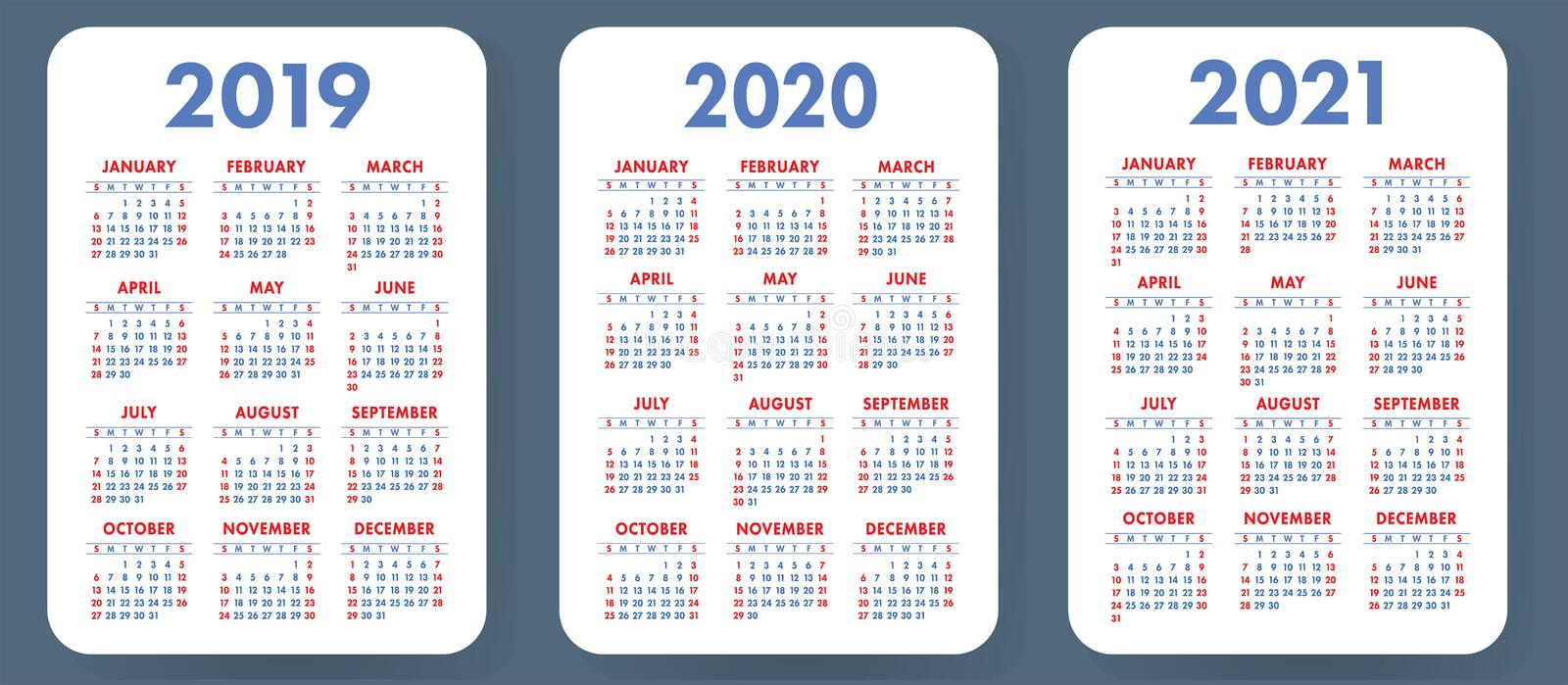 Pocket calendar 2019, 2020, 2021 set. Basic simple template. Wee stock photos