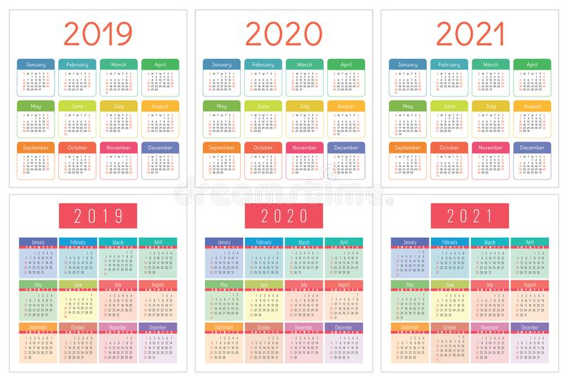 Pocket Calendar 2019, 2020, 2021 Set. Basic Simple ...
