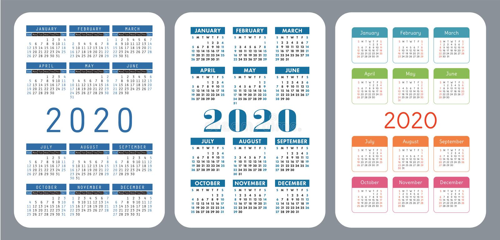 2020 pocket calendar set. Vector design collection. Color English calender. Basic grid template for print. Week starts on Sunday stock image