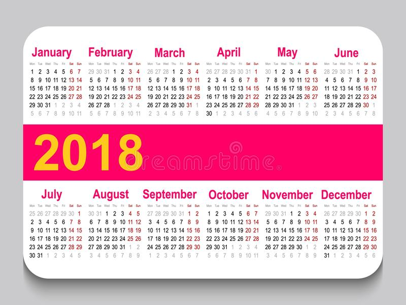 2018 A Pocket Calendar In Russian With Festive And Weekend Days
