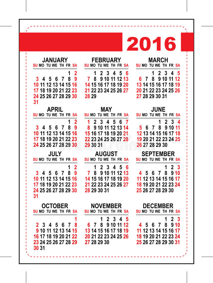 2016 Pocket Calendar Template Grid First Day Sunday Stock Vector