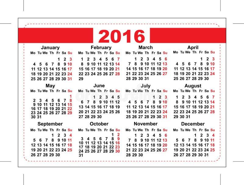 2016 Pocket Calendar Template Grid Horizontal Orientation Days Of