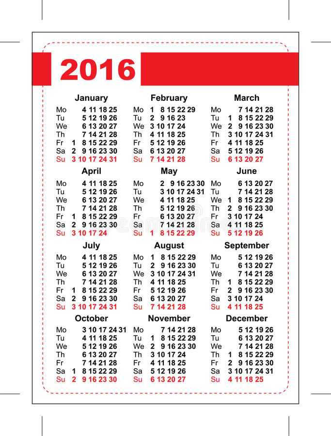 2016 Pocket Calendar Template Grid Vertical Orientation Of Days Of