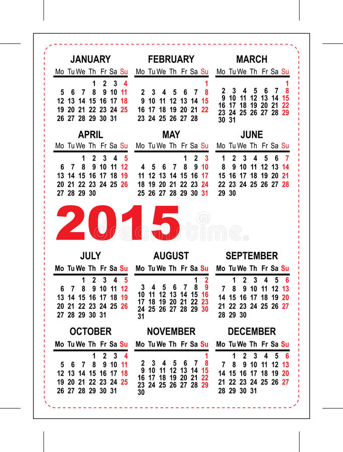 Pocket Calendar 2015 Template Stock Illustration Illustration Of