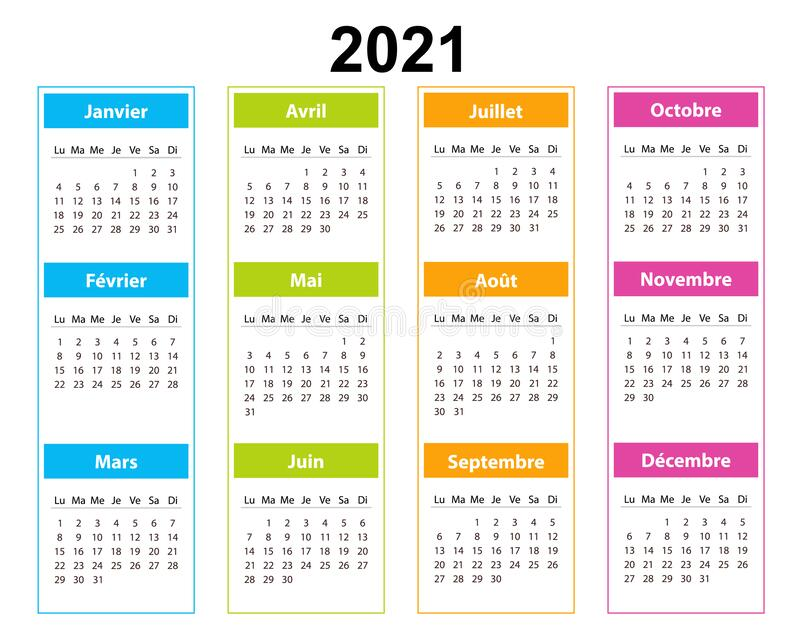 Pocket Calendar On 2021 Year, French. Color With Square ...