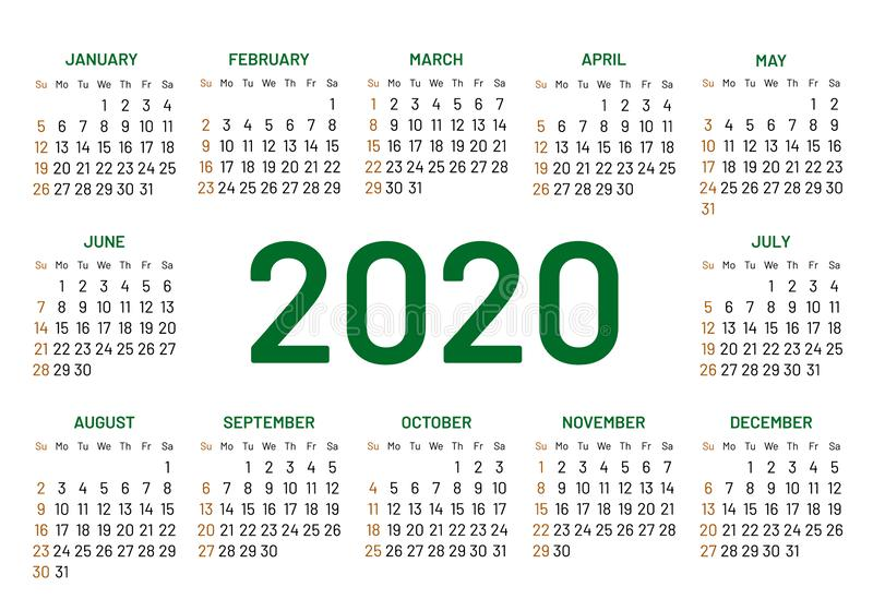 Pocket calendar 2020 year stock illustration