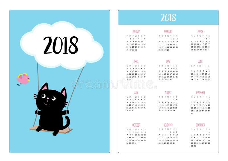 Pocket calendar 2018 year. Week starts Sunday. Cat ride on the swing. Cloud shape. Flying bird. Cute cartoon character. Baby pet c vector illustration