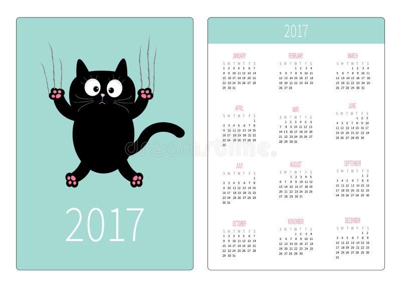 Pocket calendar 2017 year. Week starts Sunday. Flat design Vertical orientation Template. Cartoon black cat claw scratch glass. Cu vector illustration