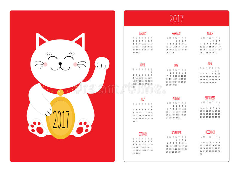Japanese Calendar Design : Pocket calendar year week starts sunday flat design