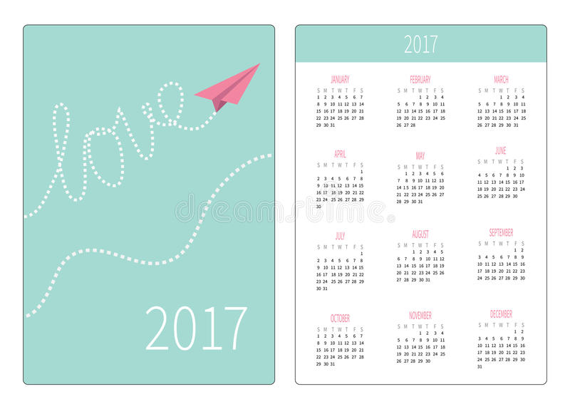Pocket calendar 2017 year. Week starts Sunday. Flat design Vertical orientation Template. Origami paper plane in the sky. Dash line word Love Vector stock illustration