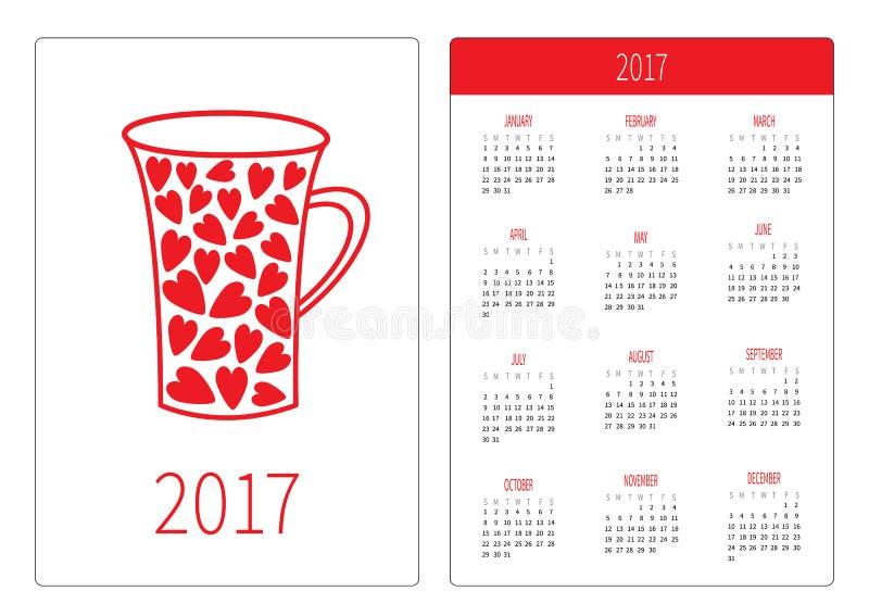 pocket calendar 2017 year week starts sunday flat design vertical