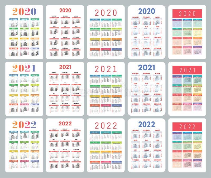 Big Calendar 2022.Pocket Calendar 2020 2021 2022 Years Big English Collection Colorful Vector Set Week Starts On Sunday Vertical Design Stock Vector Illustration Of English Grid 146529076