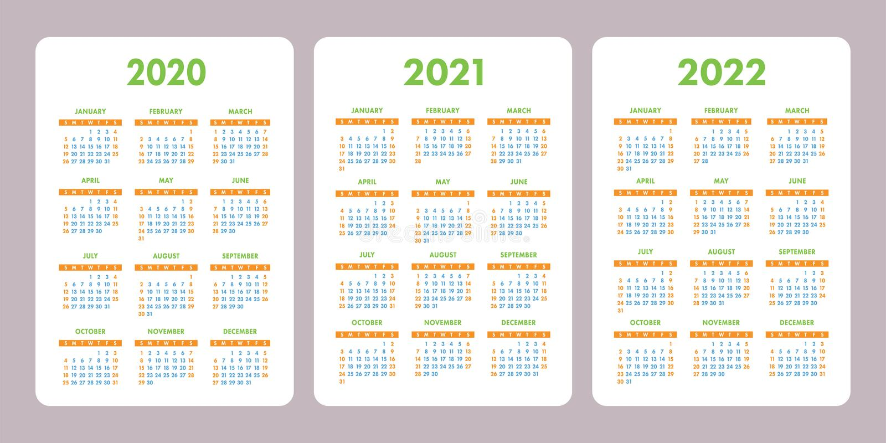Pocket calendar 2020, 2021, 2022 years. Vertical vector calender design template. Set. Week starts on Sunday stock illustration