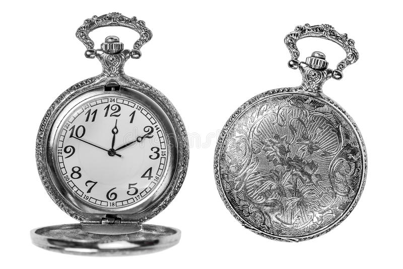 Pocket clock isolated. Silver pocket clock isolated over white open and closed stock photos