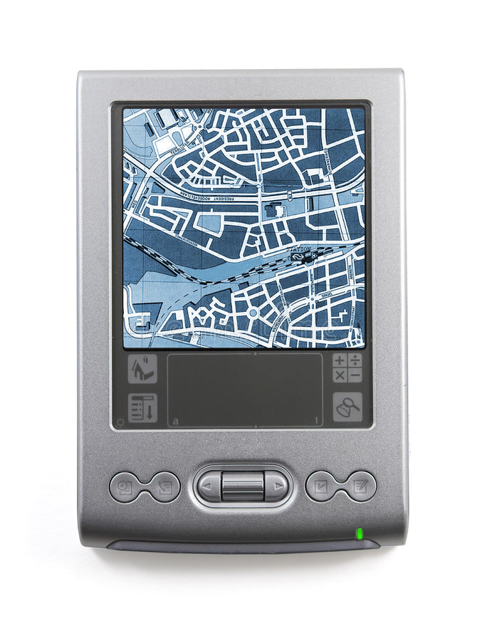 Pocket computer. Pocket computer with a map on a screen