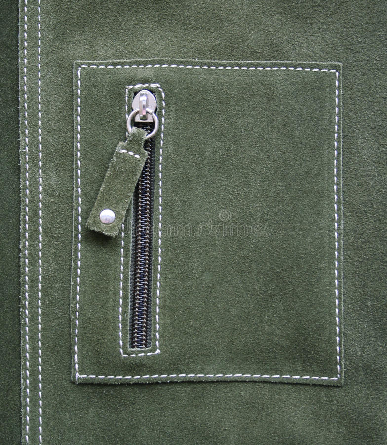 Pocket On Green Leather Texture As Background Royalty Free Stock Photos