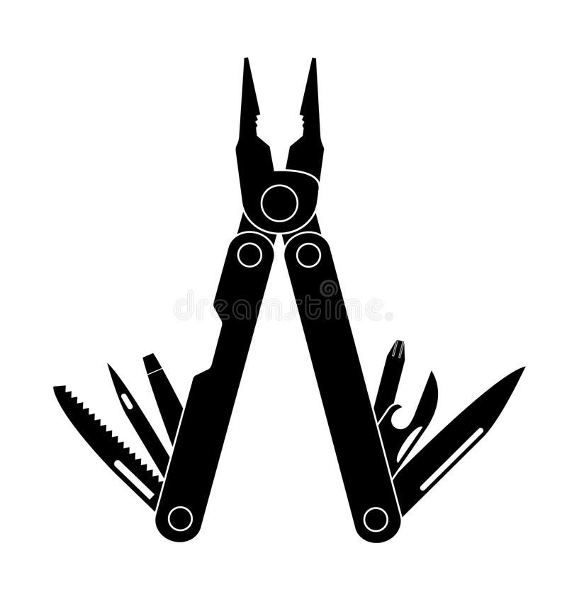 Pocket multi tool instrument. stock illustration