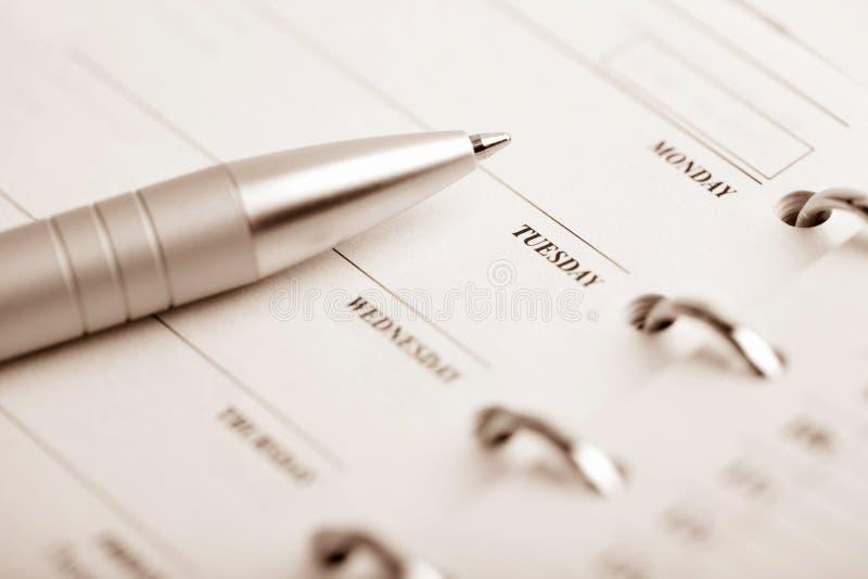 Pocket organizer and pen stock image