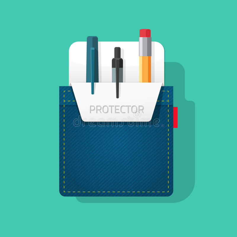 pocket protector vector, flat style jeans shirt pocket with pen