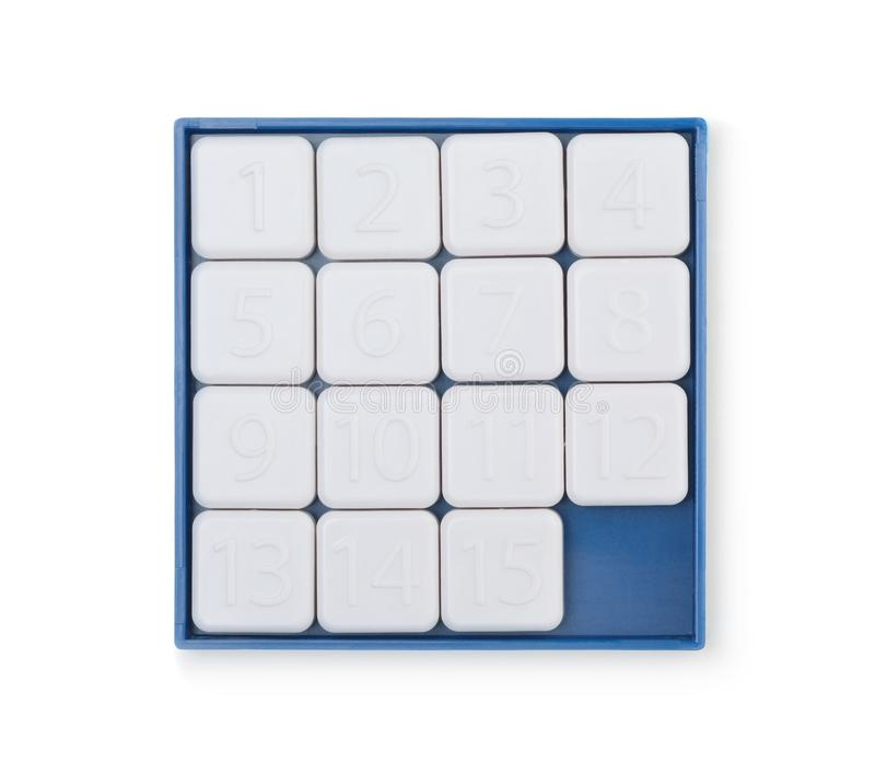 Pocket sliding fifteen puzzle game isolated on white. Background stock photo