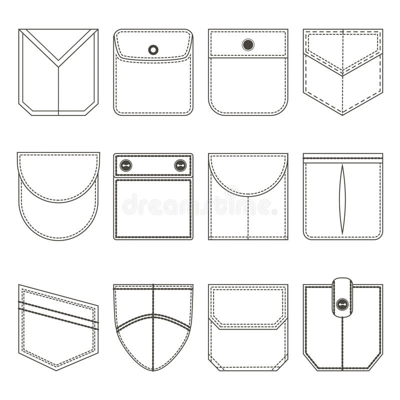 Pocket Thin Line Black Icon Set. Vector. Different Pocket Thin Line Black Icon Set Part of Clothing Style Design Elements. Vector illustration stock illustration