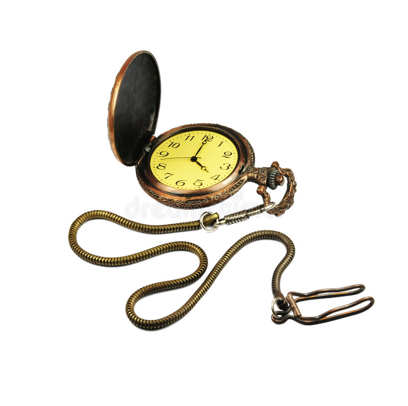 Pocket watch. Picture of a antique pocket watch with white background royalty free stock images