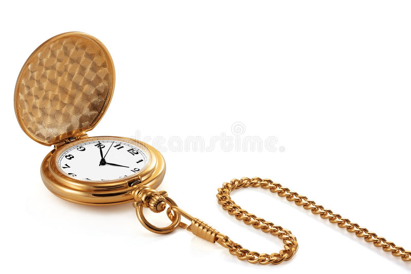 Pocket watch and chain. royalty free stock photos