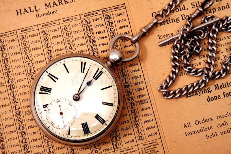 Pocket Watch And Chain Stock Photos