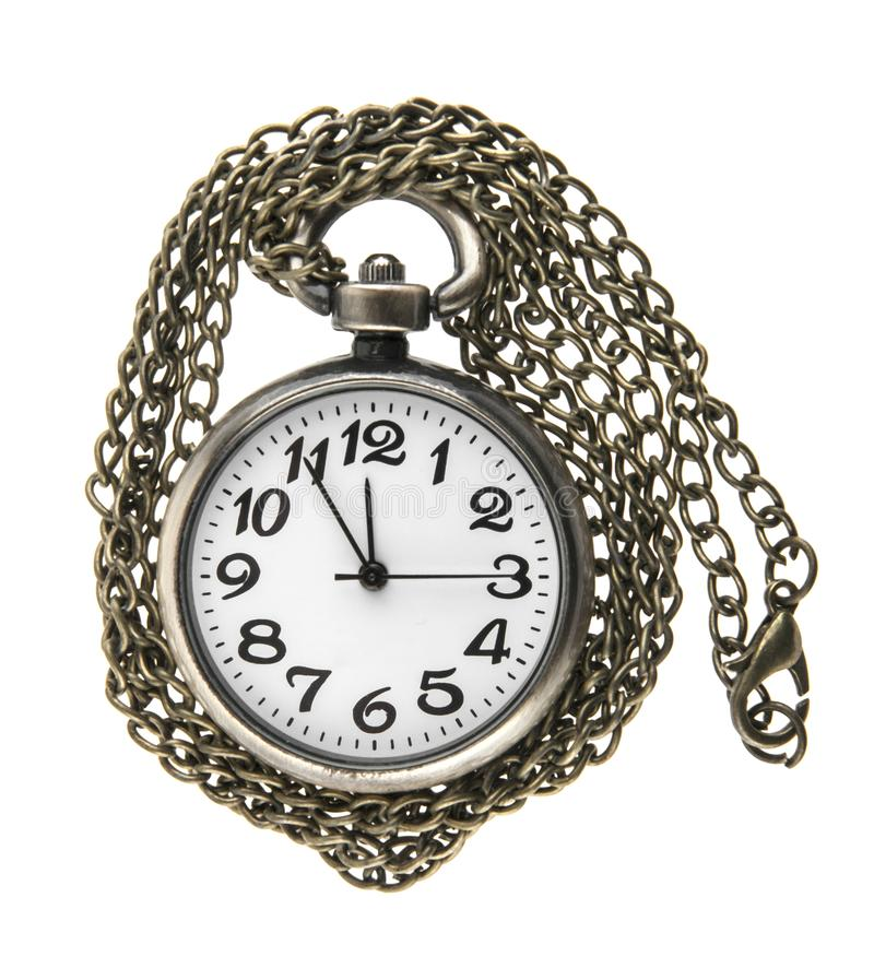 Pocket watch with chain isolated on white. Background royalty free stock images