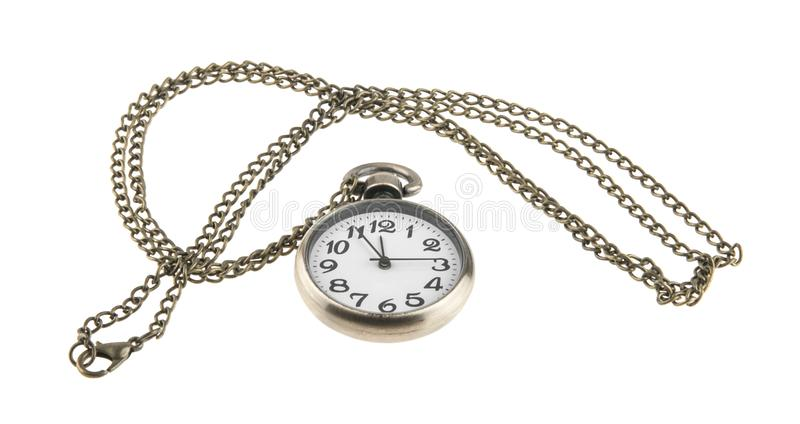 Pocket watch with chain isolated on white. Background stock photography
