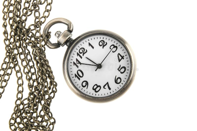 Pocket watch with chain isolated on white. Background stock photos