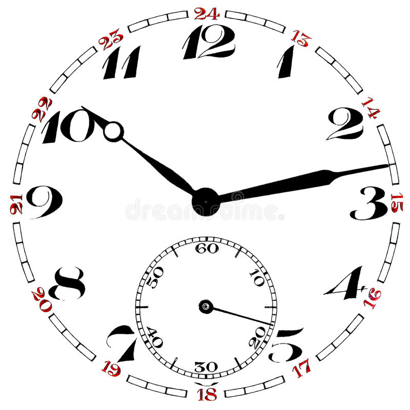 Pocket watch clock face isolated. Pocket watch clock face numbers and indicators isolated on white background royalty free illustration