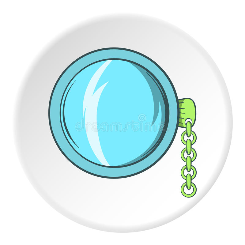 Pocket watch icon, cartoon style. Pocket watch icon in cartoon style isolated on white circle background. Time symbol vector illustration royalty free illustration