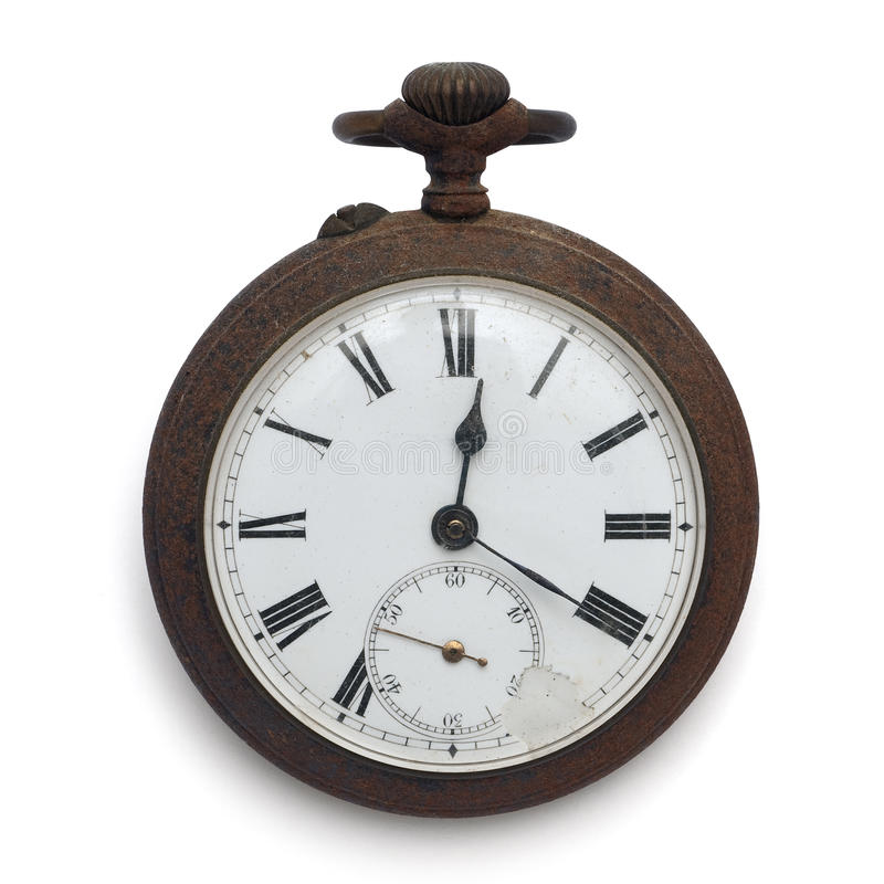 Pocket watch (isolated with clipping path). Old pocket watch by the time (isolated with clipping path royalty free stock images