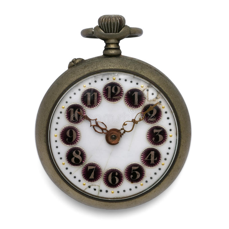 Pocket watch (isolated with clipping path). Old pocket watch by the time (isolated with clipping path stock image