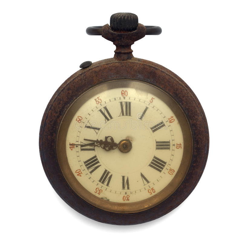 Pocket watch (isolated with clipping path). Old pocket watch by the time (isolated with clipping path royalty free stock photos