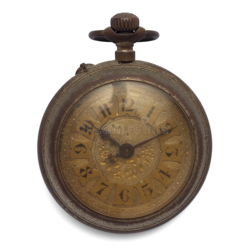 Pocket watch (isolated with clipping path). Old pocket watch by the time (isolated with clipping path stock photography