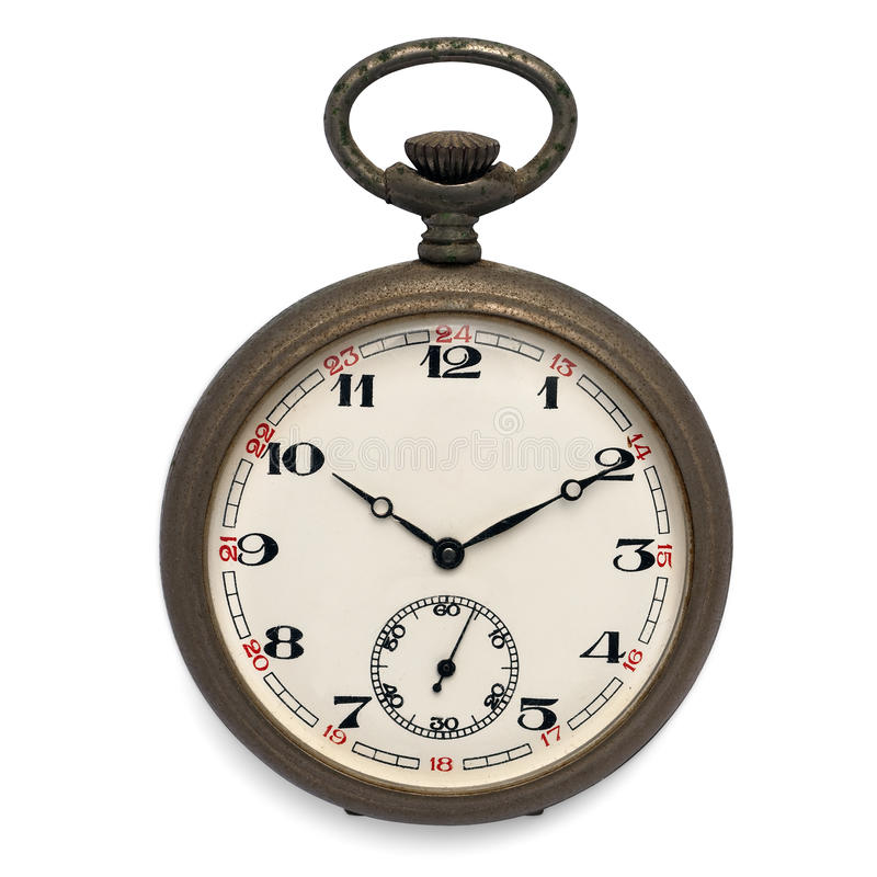Pocket watch (isolated with clipping path). Old pocket watch by the time (isolated with clipping path stock photo