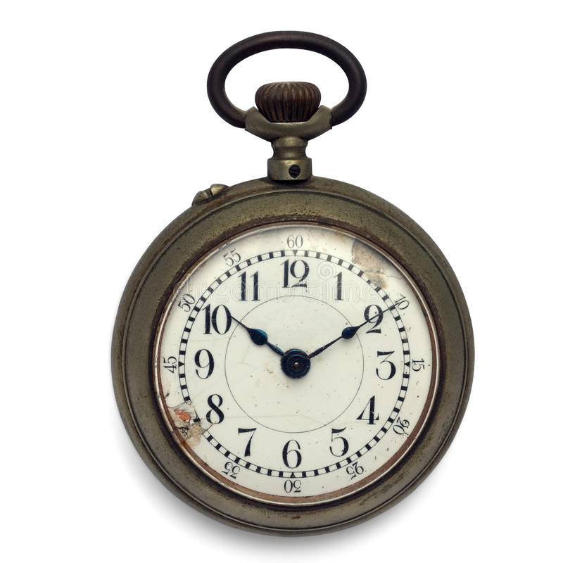 Pocket watch (isolated with clipping path). Old pocket watch by the time (isolated with clipping path royalty free stock photography