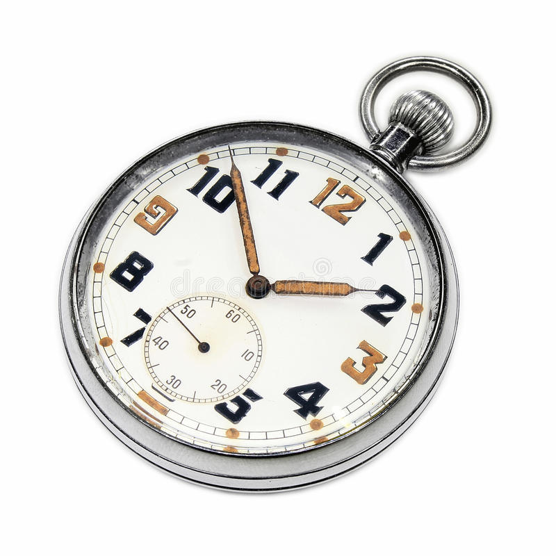 Vintage swiss pocket watch isolated. On white background royalty free stock photos