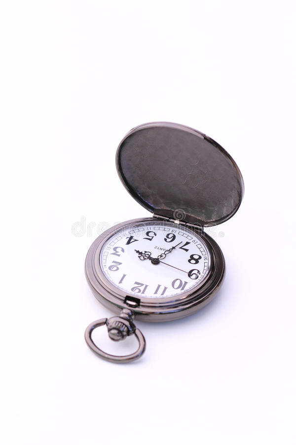 Pocket watch isolated on white background. Old-fashioned pocket watch isolated on white background royalty free stock photo
