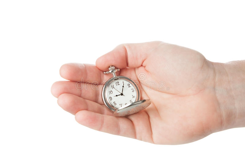 Pocket watch in a man's hand. stock photography