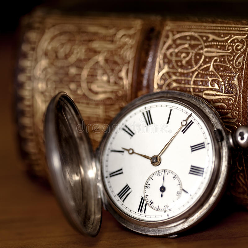 Download Pocket Watch with Old Book stock image. Image of gold - 30674947