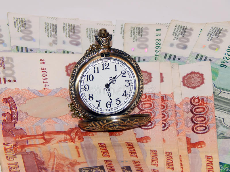 Download Pocket Watch With Russian Money Stock Photo - Image: 83707295