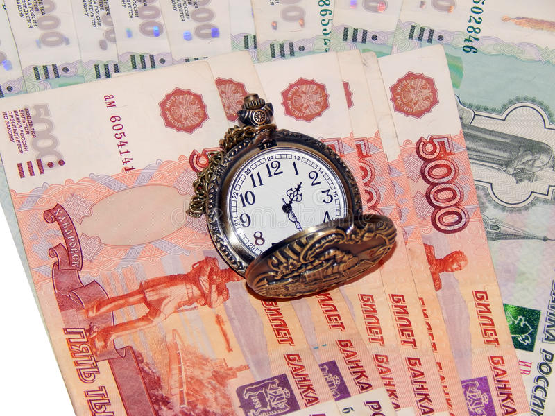 Download Pocket Watch With Russian Money Stock Photo - Image: 83707600
